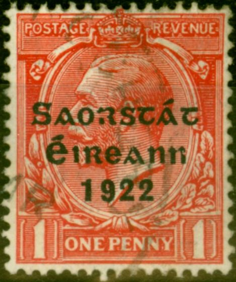 Rare Postage Stamp from Ireland 1923 1d Scarlet SG68 Harrison Coil Fine Used