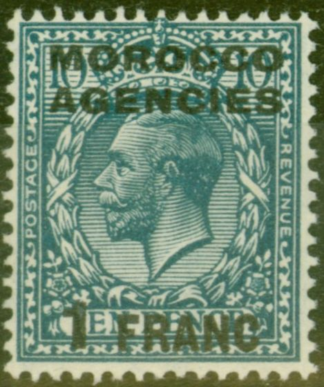 Old Postage Stamp from Morocco Agencies 1917 1f on 10d Turq-Blue SG199 Fine Lightly Mtd Mint