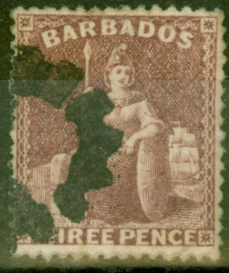 Collectible Postage Stamp from Barbados 1873 3d Brown-Purple SG63 V.F.U