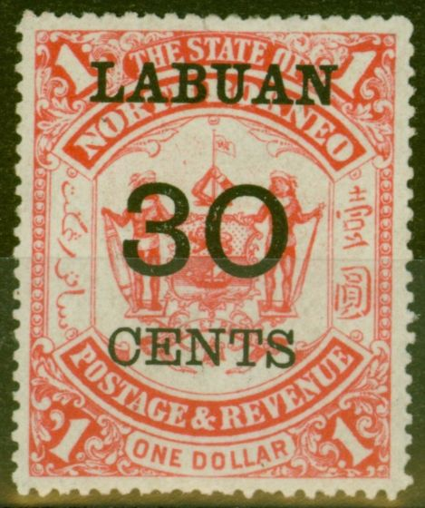 Rare Postage Stamp from Labuan 1895 30c on $1 Scarlet SG78 Fine Lightly Mtd Mint
