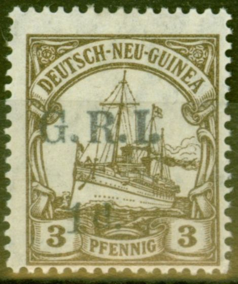 Valuable Postage Stamp from New Guinea 1914 1d on 3pf Brown SG1 Setting 1 (6mm) Fine  Fresh Lightly Mtd Mint