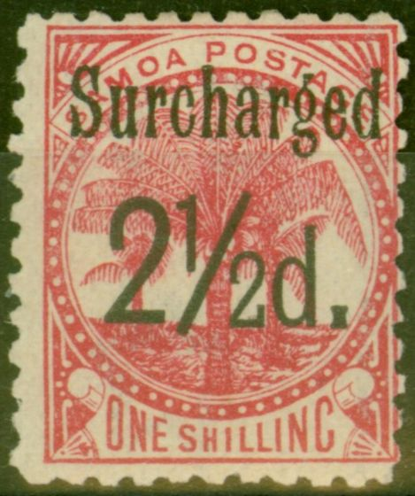 Rare Postage Stamp from Samoa 1898 2 1/2d on 1s Dull Rose-Carmine SG86 Fine Mtd Mint (14)