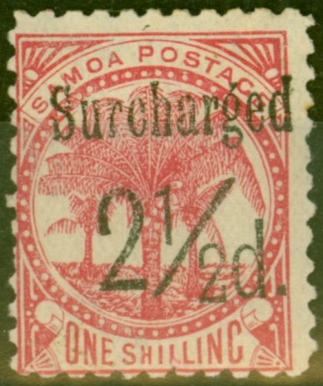 Valuable Postage Stamp from Samoa 1898 2 1/2d on 1s Dull Rose-Carmine SG86 Fine Mtd Mint (15)