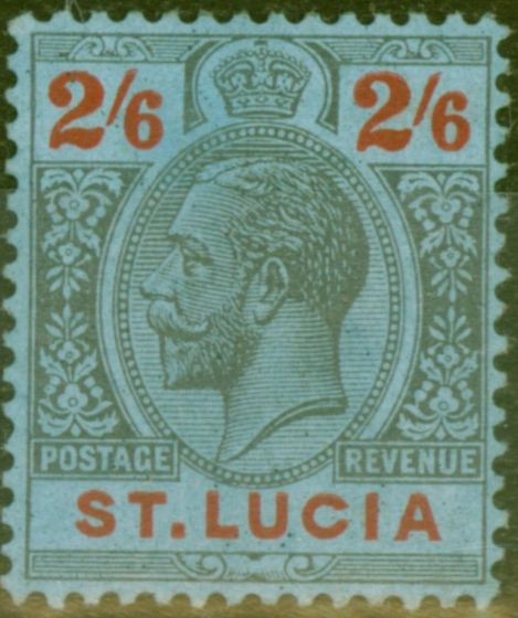 Old Postage Stamp from St Lucia 1924 2s6d Black & Red-Blue SG104 Fine Mtd Mint