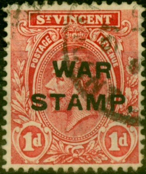 Collectible Postage Stamp from St Vincent 1916 1d Red SG122b Comma for Stop Fine Used