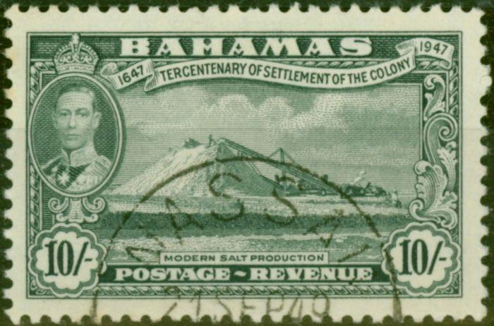 Rare Postage Stamp from Bahamas 1948 10s Grey SG192 V.F.U