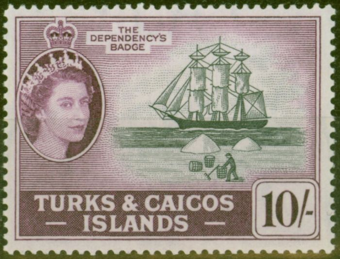Rare Postage Stamp from Turks & Caicos Is 1957 10s Black & Purple SG250 V.F MNH
