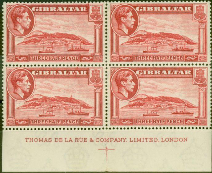 Valuable Postage Stamp from Gibraltar 1938 1 1/2d Scarlet SG123 P.14 Fine MNH Block of 4