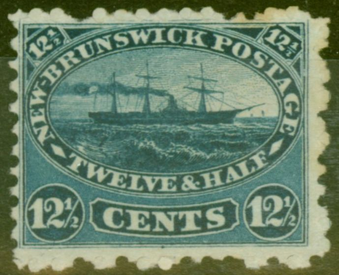 Valuable Postage Stamp from New Brunswick 1860 12 1/2c Indigo SG18 Fine Unused