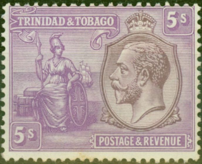 Collectible Postage Stamp from Trinidad 1922 5s Dull Purple & Mauve SG228 Fine Lightly Mtd Mint