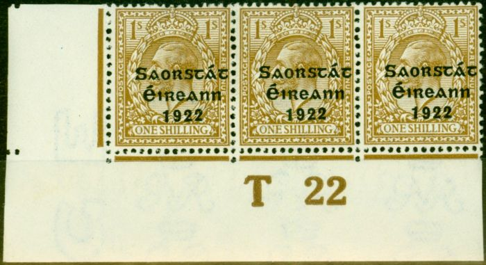 Valuable Postage Stamp from Ireland 1922 1s Bistre-Brown SG63 Very Fine MNH Control T22 Pl 3B Strip of 3
