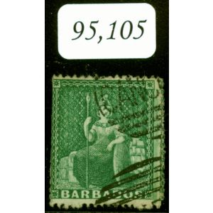 Barbados 1861 (1/2d) Dp Green SG17 Perkins Bacon CANCELLED Handstamp Newly Discovered Major Rarity