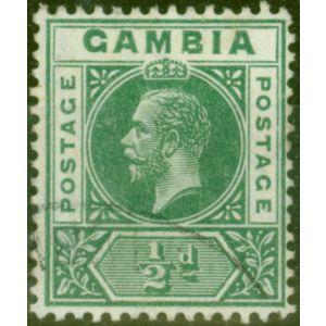 Gambia 1912 1/2d Dp Green SG86var Deformed B in GAMBIA Fine Used