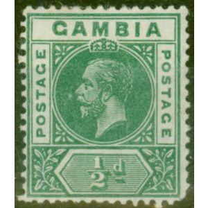 Gambia 1912 1/2d Dp Green SG86var Deformed B in GAMBIA Good Lightly Mtd Mint