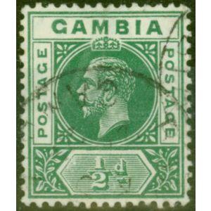Gambia 1912 1/2d Dp Green SG86var Deformed B in GAMBIA V.F.U