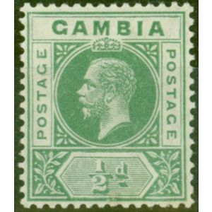 Gambia 1912 1/2d Green SG86avar Deformed B in GAMBIA Fine Very Lightly Mtd Mint