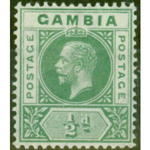 Gambia 1912 1/2d Green SG86avar Deformed B in GAMBIA V.F Very Lightly Mtd Mint