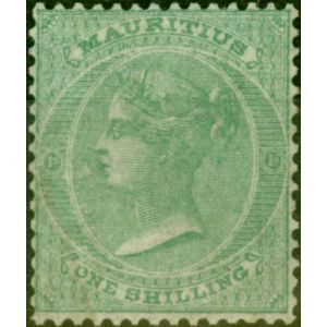 Mauritius 1863 1s Green SG53 No Wmk Fine & Fresh Unused Scarce