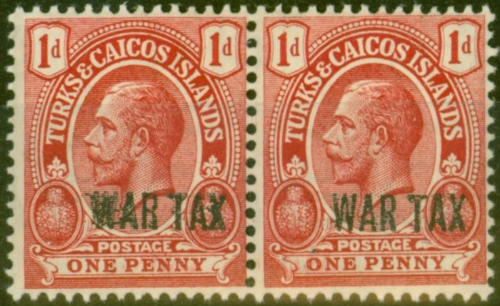 Rare Postage Stamp from Turks & Caicos Is 1917 1d Red SG140ab Opt Double in Horiz Pair with Normal F MNH