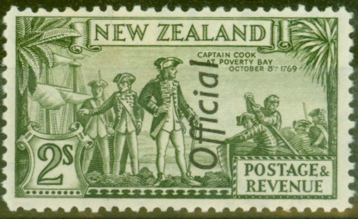 Valuable Postage Stamp from New Zealand 1942 2s Olive-Green SG0132c var Re-entry V.F Very Lightly Mtd Mint
