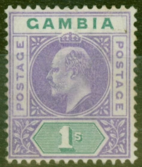 Rare Postage Stamp from Gambia 1902 1s Violet & Green SG52 Fine Mtd Mint