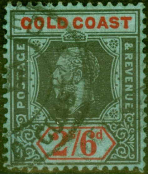Old Postage Stamp from Gold Coast 1921 2s6d Black & Red-Blue SG81a Die II Fine Used Stamp