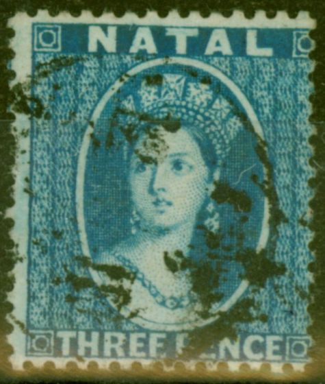 Old Postage Stamp from Natal 1859 3d Blue SG10 Fine Used