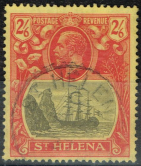 Rare Postage Stamp from St Helena 1927 2s6d Grey & Red-Yellow SG109c Cleft Rock V.F.U Scarce
