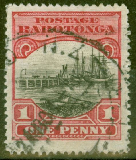 Rare Postage Stamp from Cook Islands 1920 1d Black & Carmine-Red SG10 Fine Used