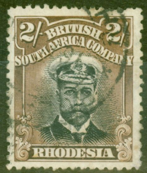 Rare Postage Stamp from Rhodesia 1913 2s Black & Brown SG214 Die I P.14 Fine Used