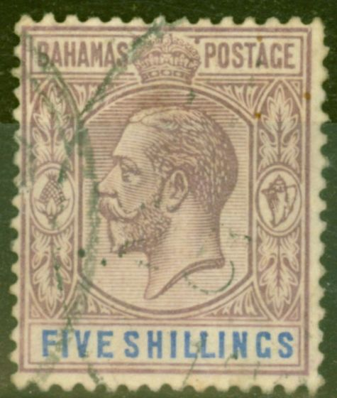 Old Postage Stamp from Bahamas 1912 5s Dull Purple & Blue SG88 Ave Used
