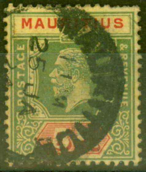 Collectible Postage Stamp from Mauritius 1922 5R on Pale Yellow SG203b Die II Good Used