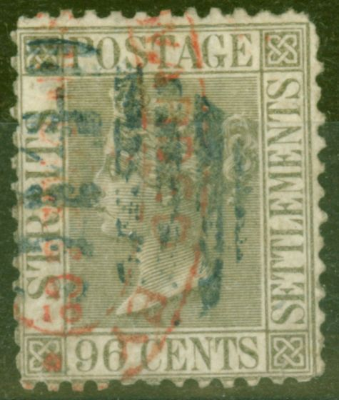 Rare Postage Stamp from Straits Settlements 1871 96c Grey SG19a P.12.5 Ave Used