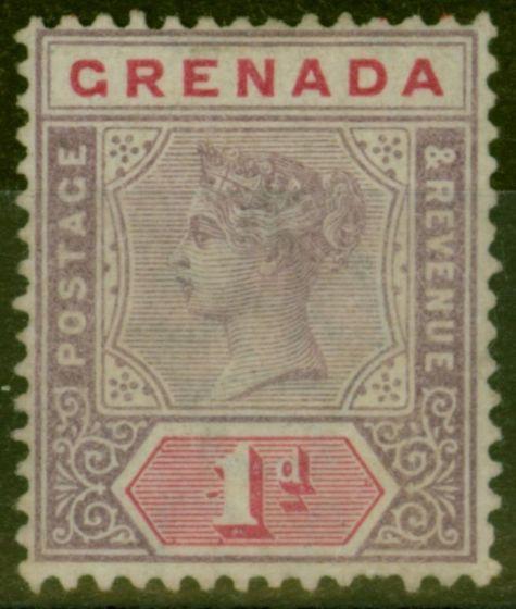 Rare Postage Stamp from Grenada 1896 1d Mauve & Carmine SG49var Repair to Broken Line in Value Tablet Good Mtd Mint