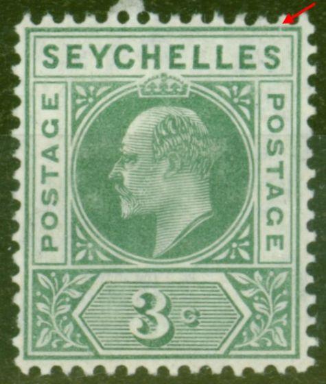 Valuable Postage Stamp from Seychelles 1906 3c Dull Green SG61Var Slotted Frame Fine Mtd Mint