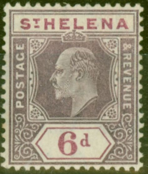 Old Postage Stamp from St Helena 1908 6d Dull & Dp Purple SG67 Fine Very Lightly Mtd Mint