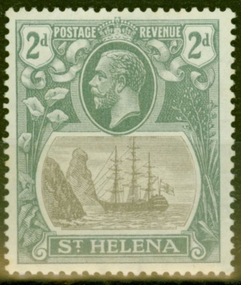 Collectible Postage Stamp from St Helena 1923 2d Grey & Slate SG100a Broken Mainmast V.F Lightly Mtd Mint