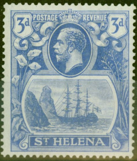 Collectible Postage Stamp from St Helena 1923 3d Brt Blue SG101a Broken Mainmast V.F Lightly Mtd Mint
