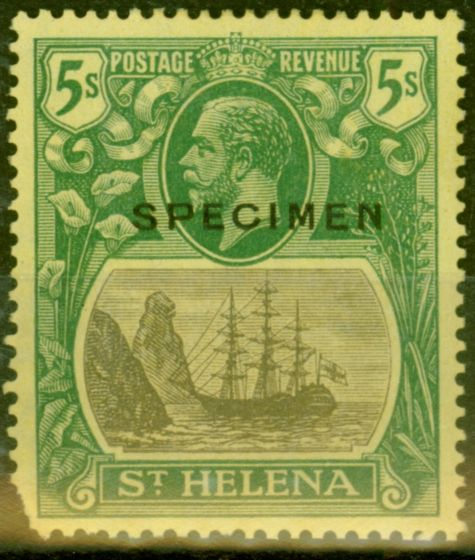 Old Postage Stamp from St Helena 1927 5s Grey & Green-Yellow Specimen SG110cs Cleft Rock Good Lightly Mtd Mint Rare only 7 Can Exist