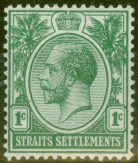 Valuable Postage Stamp from Straits Settlements 1912 1c Green SG193 Fine Lightly Mtd Mint