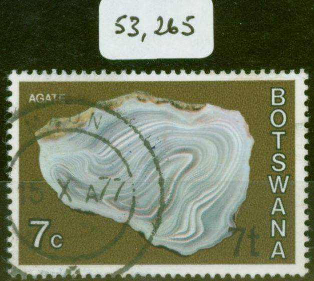 Old Postage Stamp from Botswana 1976 7t on 7c Agate SG372a Surch at Bottom Right V.F.U