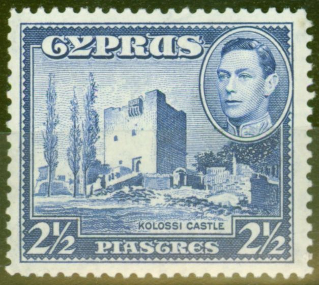 Valuable Postage Stamp from Cyprus 1938 2 1/2 pi Ultramarine SG156 Fine & Fresh Very Lightly Mtd Mint