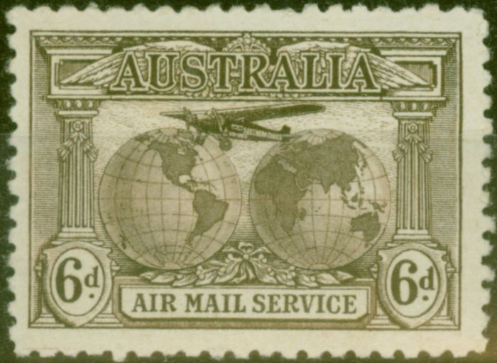 Valuable Postage Stamp from Australia 1931 Air 6d Sepia SG139 Fine Lightly Mtd Mint