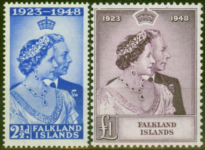 Old Postage Stamp from Falklands Islands 1948 RSW set of 2 SG166-167 Fine Very Lightly Mtd Mint