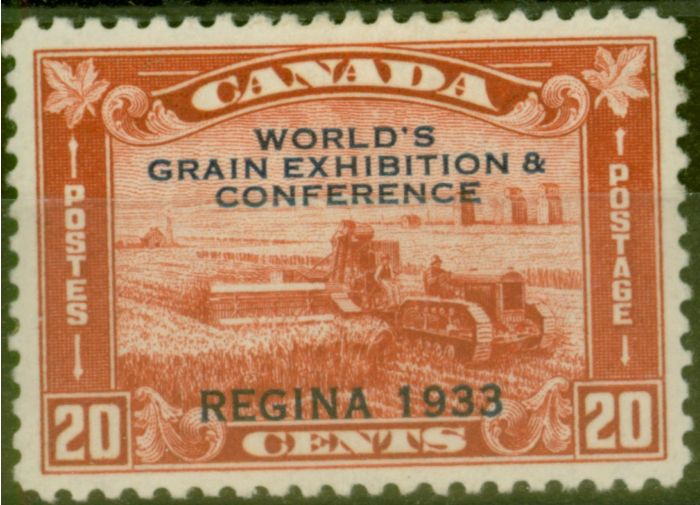 Old Postage Stamp from Canada 1933 World Grain 20c Red SG336 Fine Lightly Mtd Mint