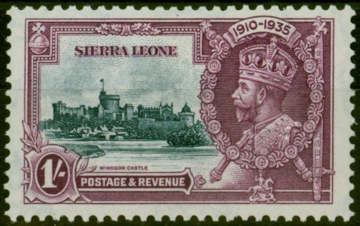 Rare Postage Stamp from Sierra Leone 1935 Jubilee 1s Slate & Purple SG184b Short Extra Flagstaff Scarce