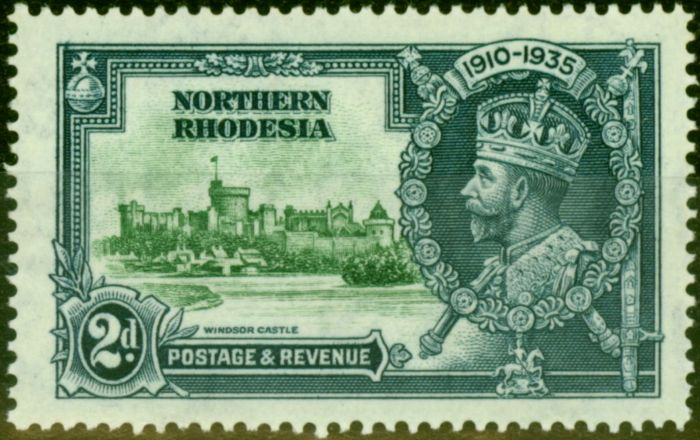 Rare Postage Stamp from Northern Rhodesia 1935 2d Green & Indigo SG19F Diag Line by Turret Fine Mtd Mint