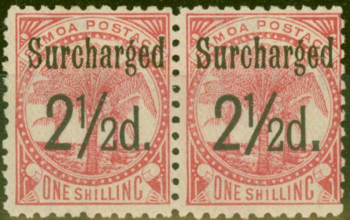 Valuable Postage Stamp from Samoa 1898 2 1/2d on 1s Dull Rose-Carmine SG86 Fine Lightly Mtd MInt Pair