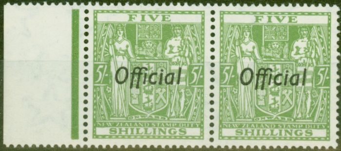 Valuable Postage Stamp from New Zealand 1943 5s Green SG0133 V.F MNH Pair