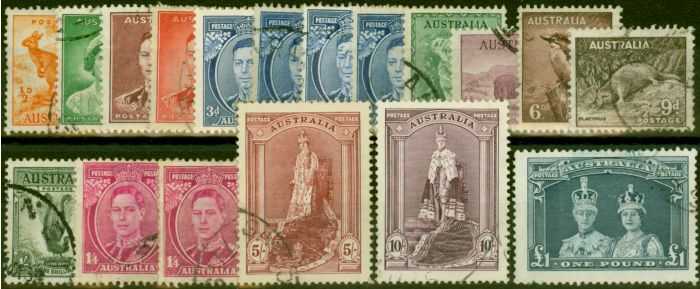 Valuable Postage Stamp from Australia 1937-43 Extended Set of 18 SG164-178 Fine Used CV £105+